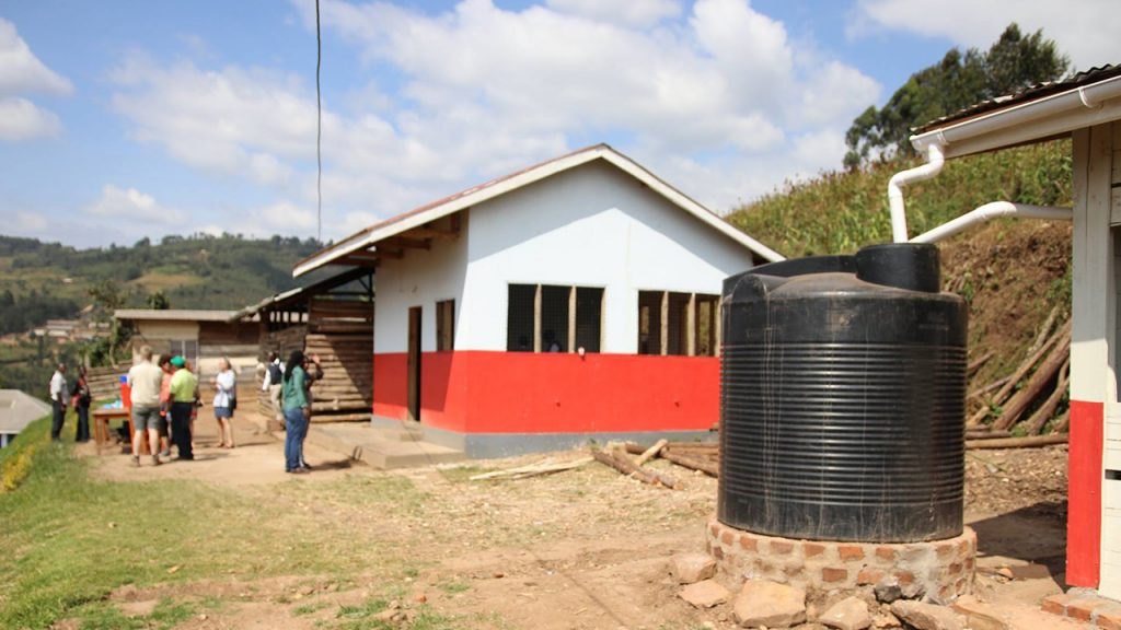 Even in Uganda, water tanks are set up to collect rainwater.