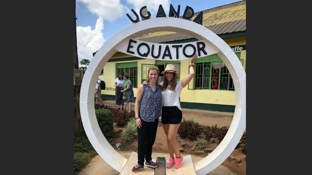 Malin and Elisabeth are standing right on the equator, literally.