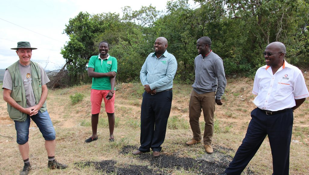 Photo of Better Globe's forest master Jan Vandenabeele to the far left and CEO of KenGen, Samson Kimani, to the far right. 180629