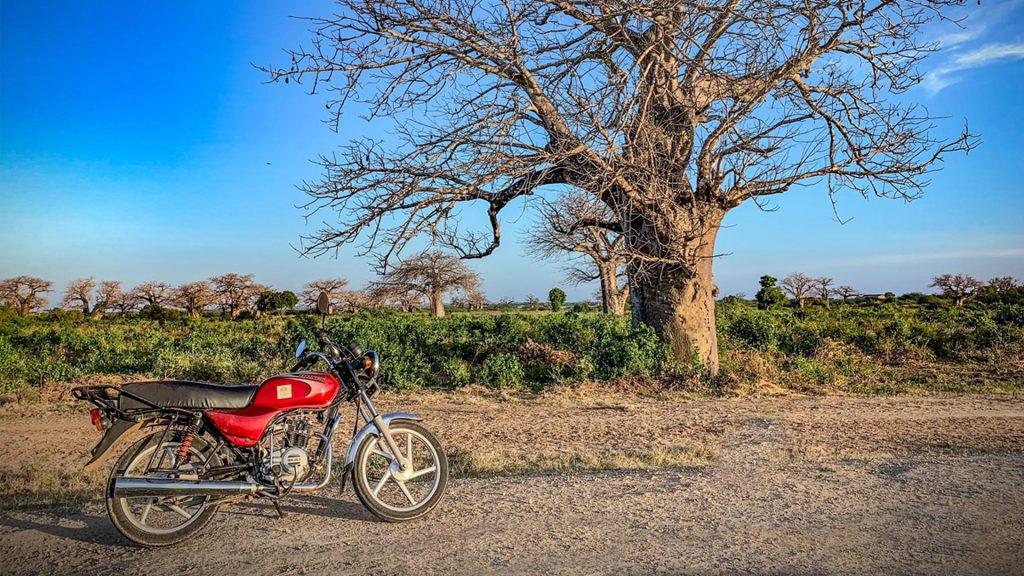 Den hyrda motorcykeln att ta sig ut till Nyongoro med. Foto: Torgny Johnsson.